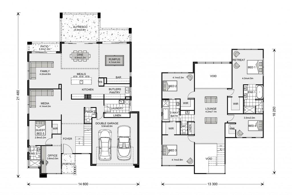 Blue Water 425 - Split Level Series Floorplan