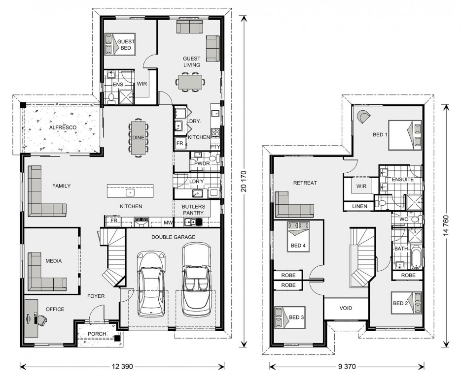 Twin Waters 292 with Granny Flat - Dual Living Series Floorplan