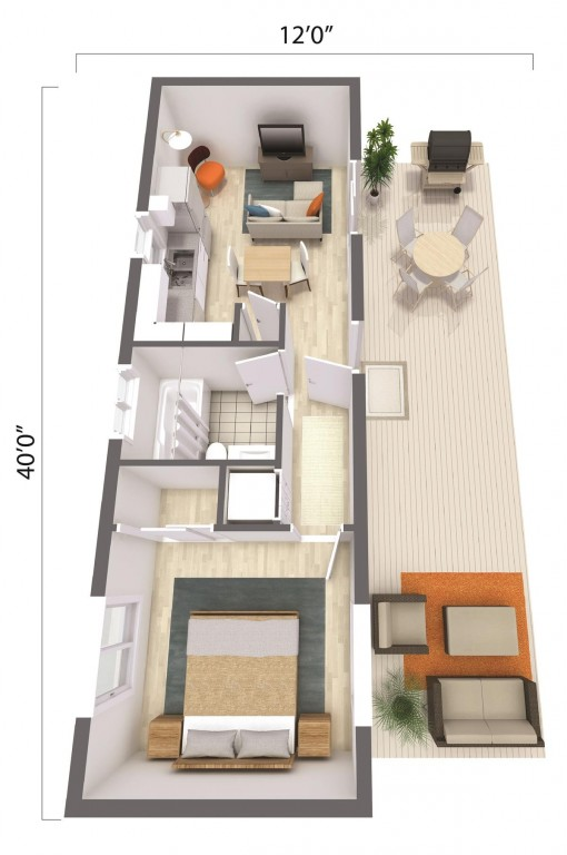 ADU – The Monterey 480 Floorplan