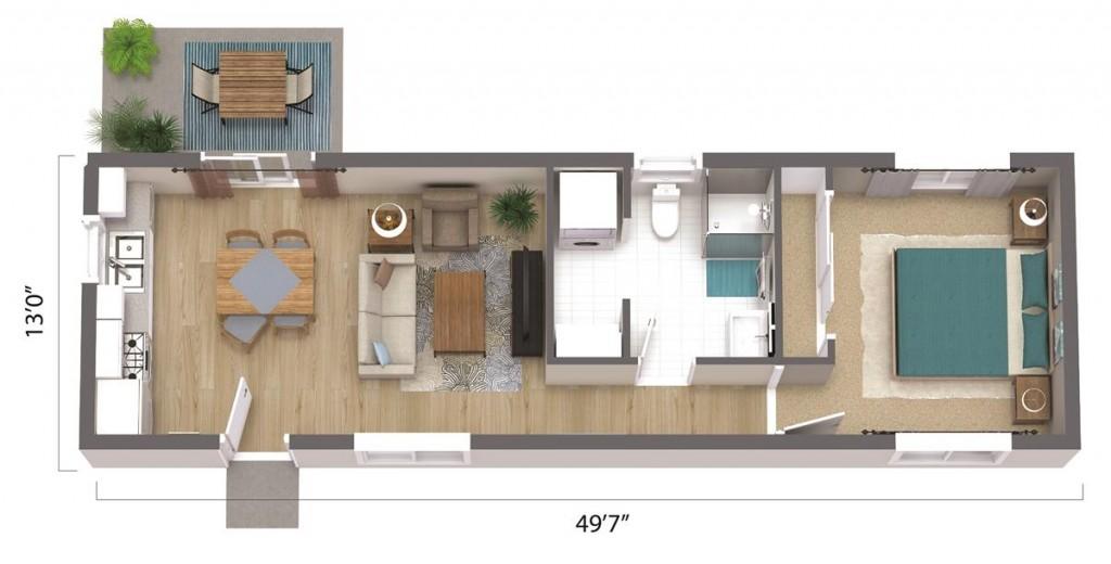 ADU – The Los Angeles 645 Floorplan