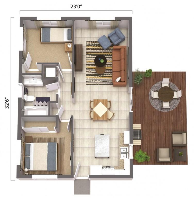 ADU – The Fresno 748 Floorplan