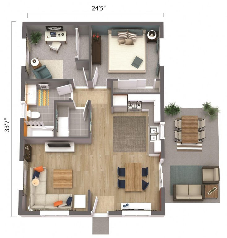 ADU – The Sacramento 820 Floorplan