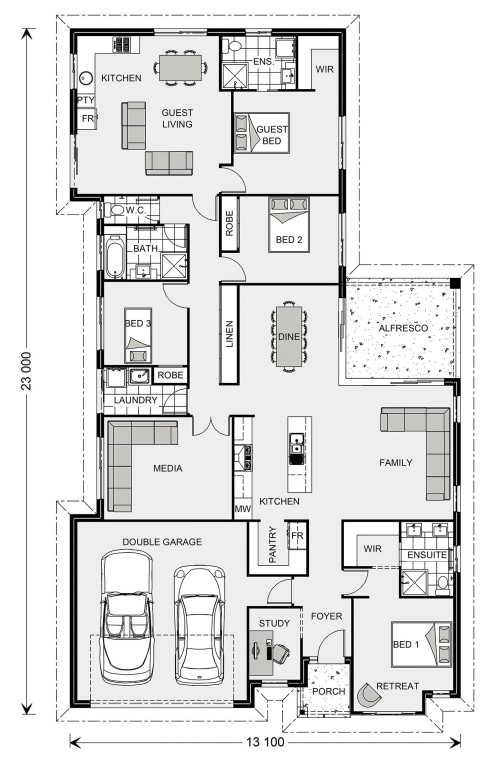 Coolum 225 plus Granny Flat Floorplan