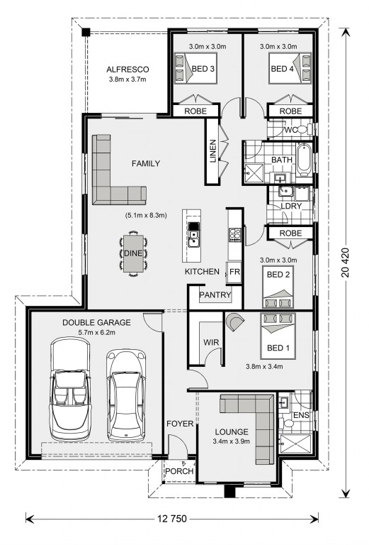 Parkview 215 with Granny Flat Floorplan