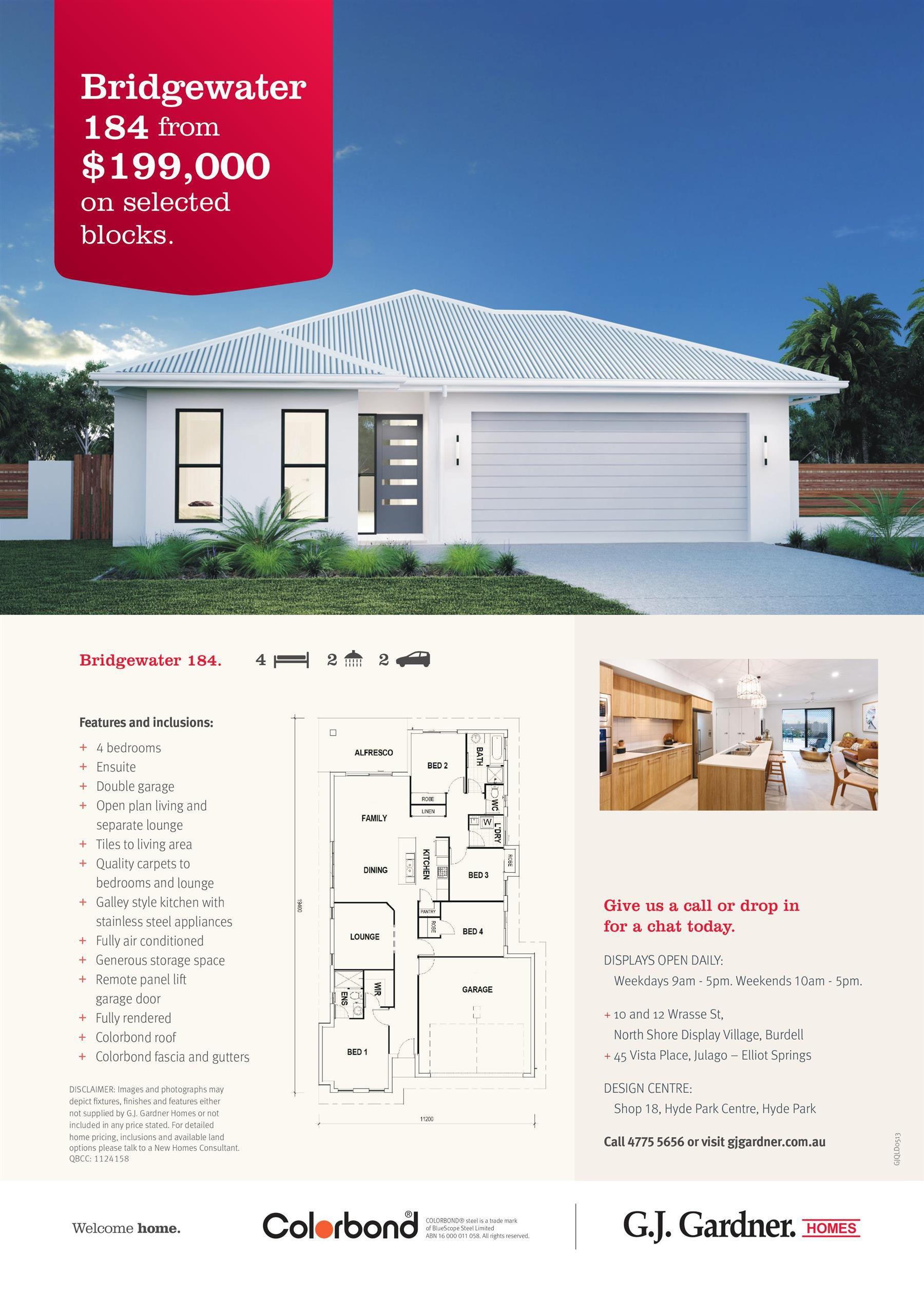 Bridgewater 184 from $199,000 on selected blocks