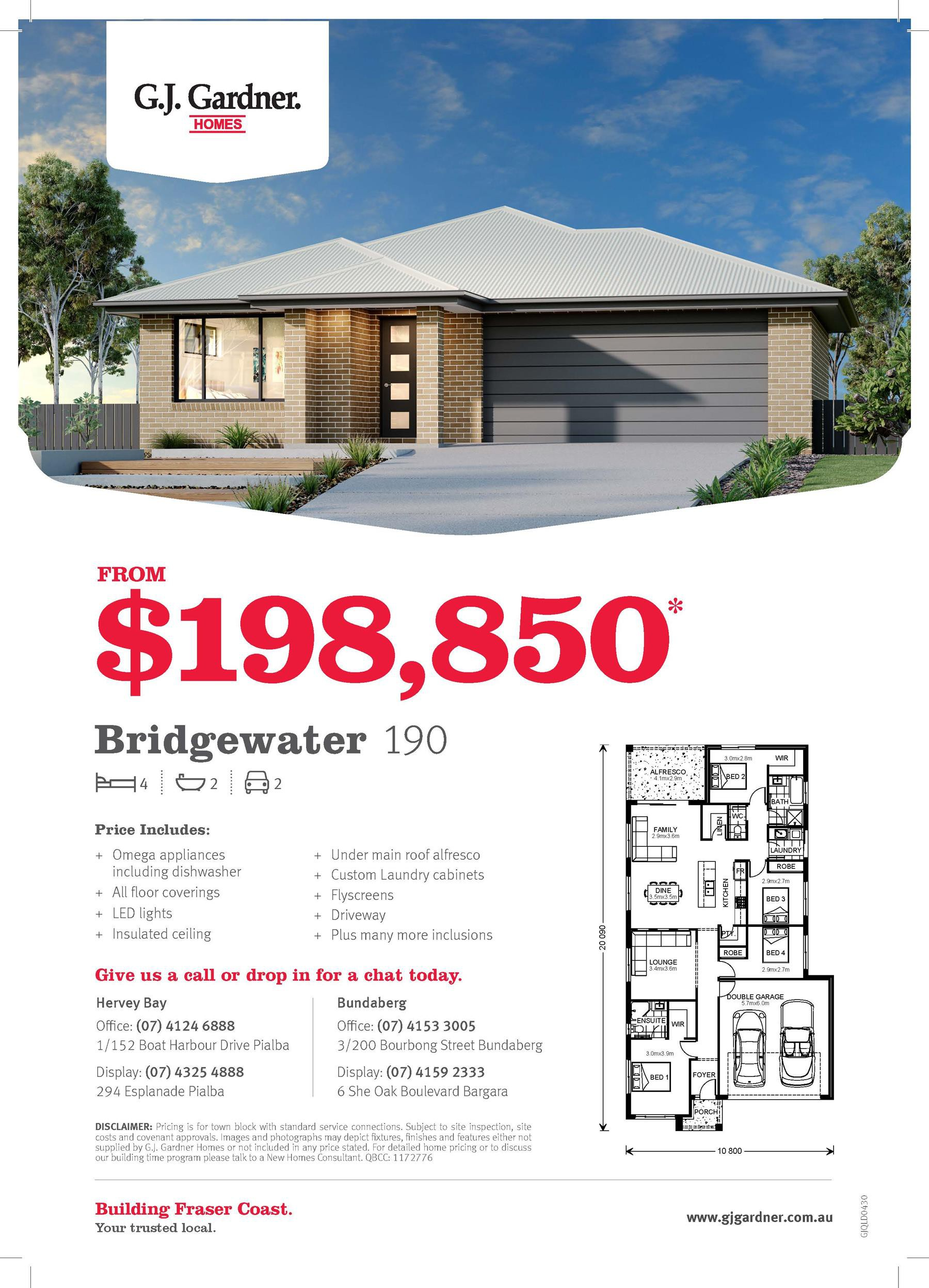 Pricing Special – Bridgewater 190!