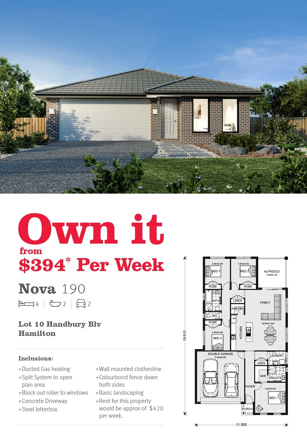 House and land in Hamilton from just $394 per week!*