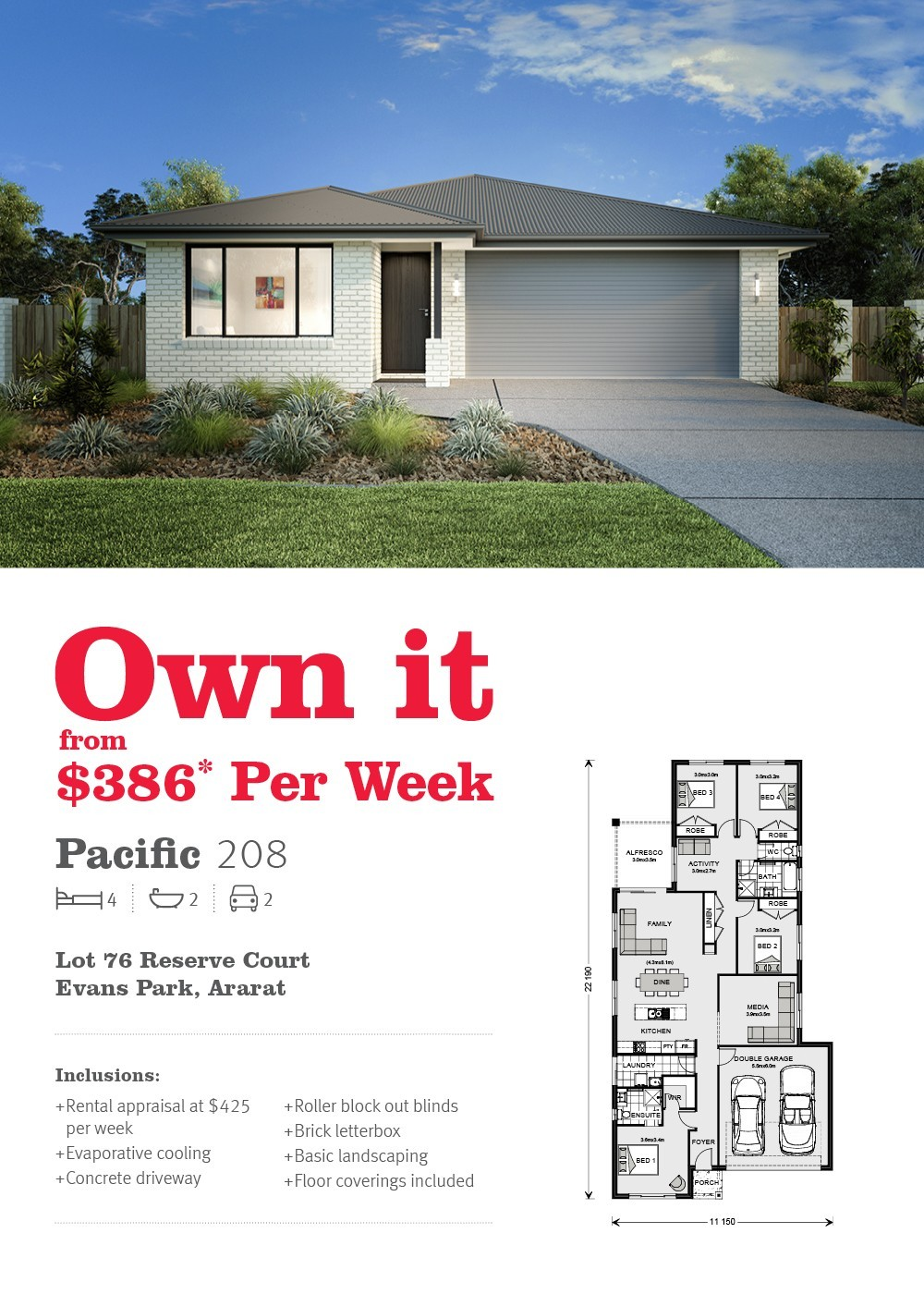 House and land in Ararat from just $386 per week*