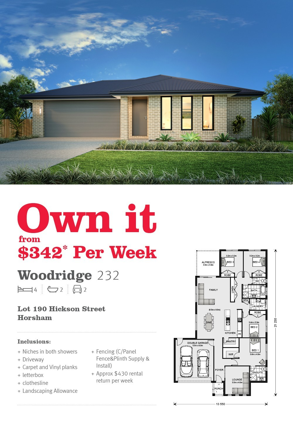 House and land in Horsham from just $342 per week*